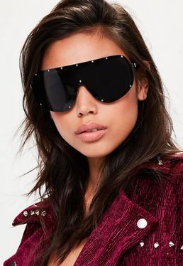 Black Studded Oversized Sunglasses
