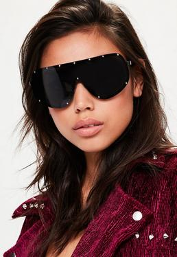 Black Studded Oversized Sunglasses