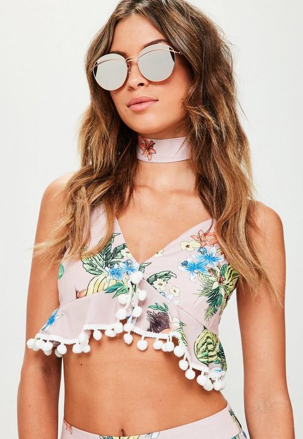 Rose Gold Double Metal Bar Sunglasses