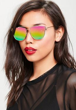 Gold Flat Bar Metal Frame Sunglasses