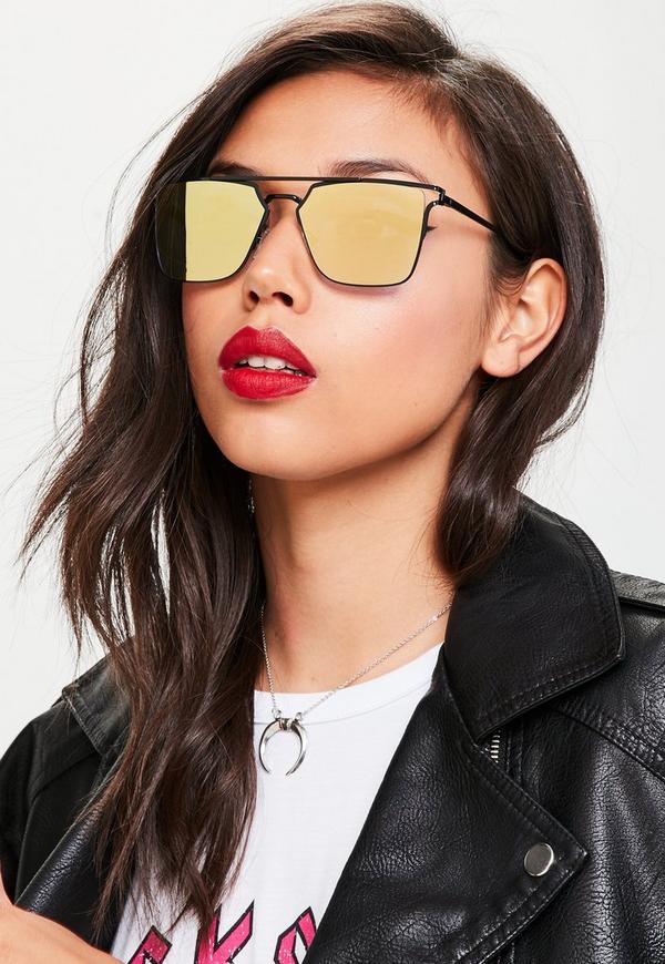 Yellow Flat Bar Metal Frame Sunglasses