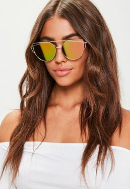 Gold Cat Eye Mirrored Sunglasses