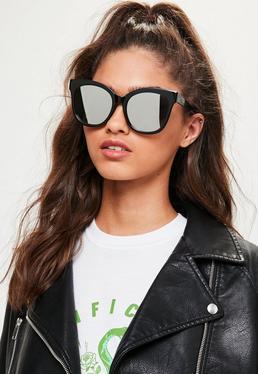 Schwarze Verspiegelte Oversize Sonnenbrille