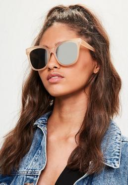 Nude Oversized Mirrored Sunglasses