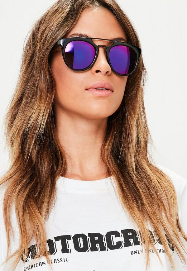 Black Metal Bar Frame Sunglasses