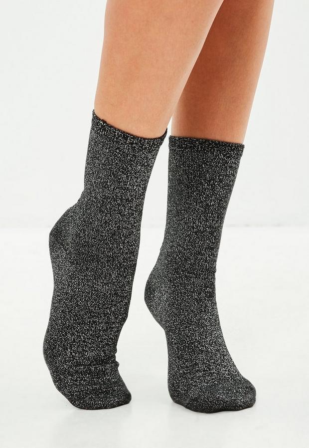 Image of 3 Pack Glitter Socks, Black