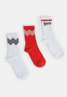 3 Pack Red Zig Zag Socks