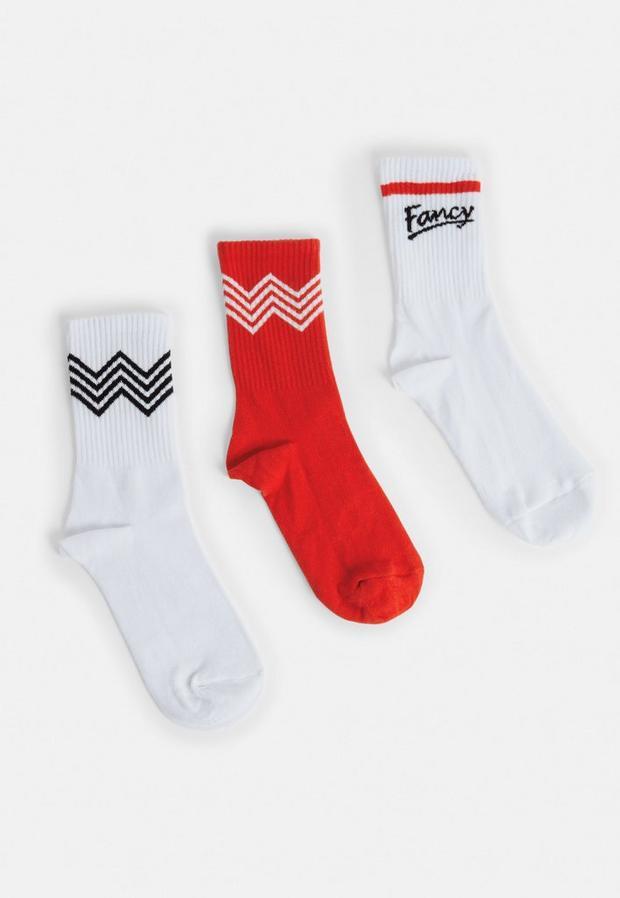 Image of 3 Pack Red Zig Zag Socks, Multi