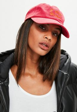 Red Slogan Detail Cap