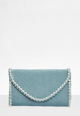 Blue Denim Diamante Clutch Bag