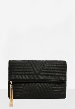 Black Geometric Quilted Clutch Bag