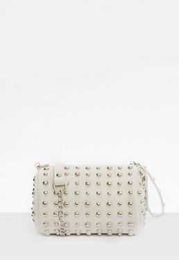 Grey Studded Round Wristlet Clutch Bag