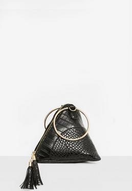 Black Circle Hand Pyramid Clutch Bag