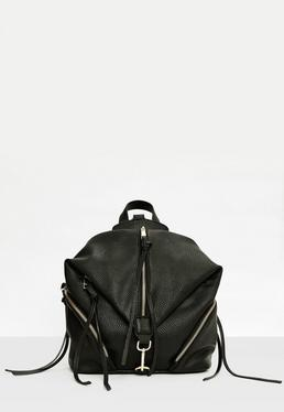 Black Folded Centre Zip Backpack