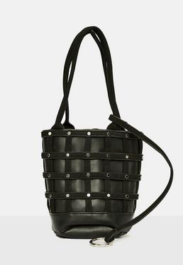 Black Caged Wristlet Clutch Bag