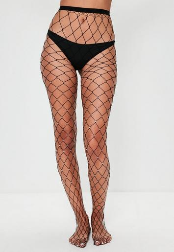 Black diamante fishnet tights missguided for Fish net tights