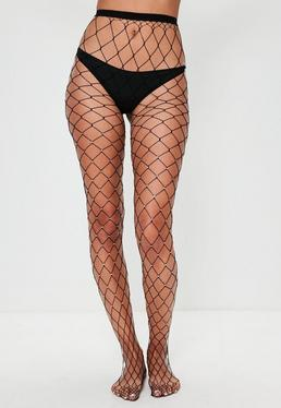 Black Diamante Fishnet Tights
