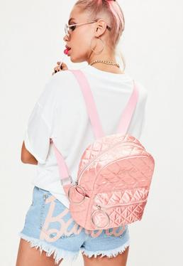 Barbie x Missguided Pink Satin Embroidered Rucksack