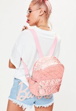 Barbie x Missguided Różowy satynowy plecak z napisem Barbie