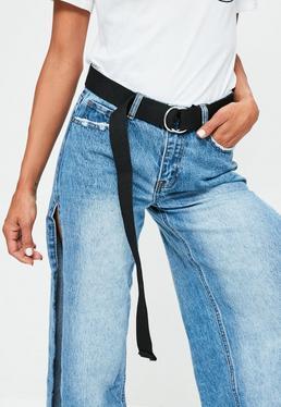 Cinturón con cierre de arandelas metálicas en negro