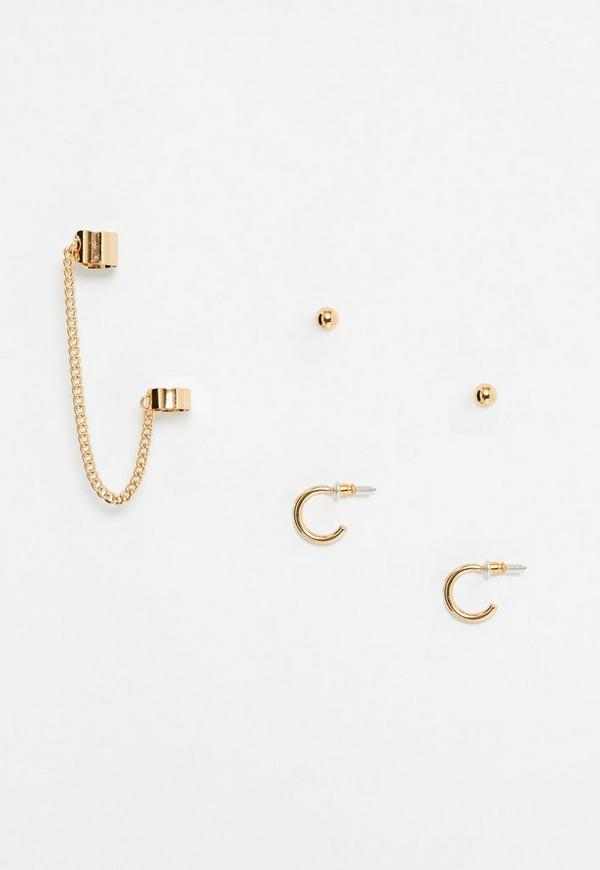 Gold Chain and Stud Ear Cuff