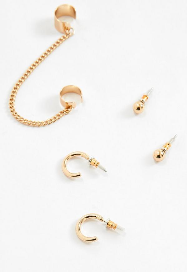 gold chain and stud ear cuff missguided