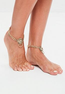 Gold 2 Pack Lion Head Anklets