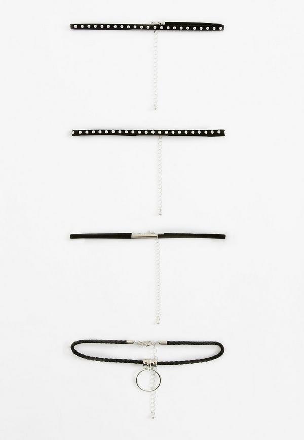 4 Pack Black Choker Necklaces
