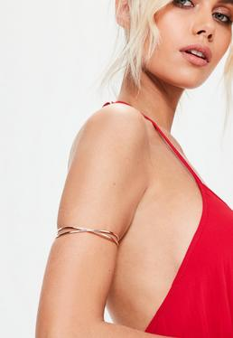 Rose Gold Cross Over Arm Cuff