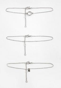 Silver 3 Pack Diamante Anklets