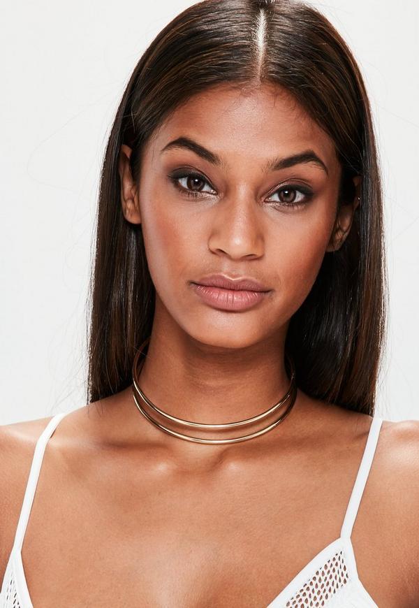Gold Double Row Bar Choker Necklace