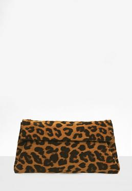 Brown Leopard Print Roll Top Clutch Bag
