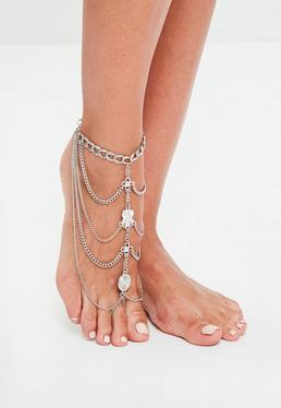 Silver Jewelled Foot Chain