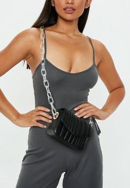 Black Clear Chain Cross Body Bag