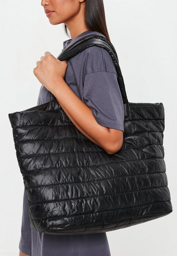 Black Quilted Tote Bag Missguided