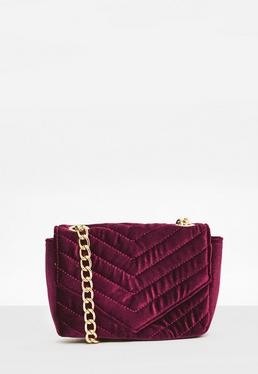 Burgundy Quilted Cross Body Bag