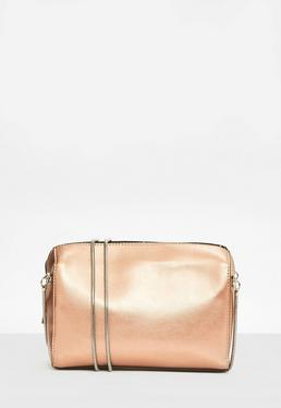 Rose Gold Snake Chain Two Zip Cross Body Bag