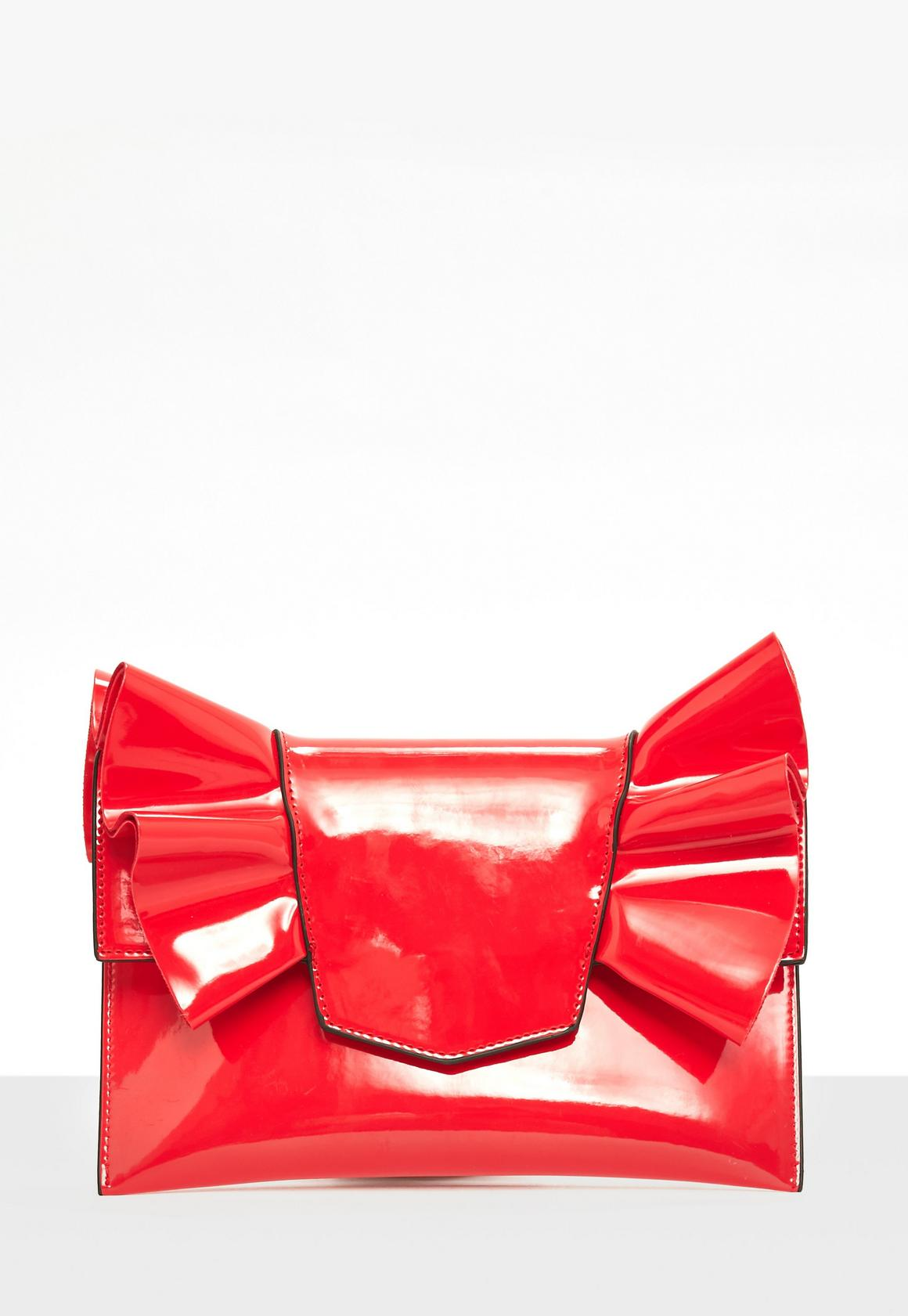 Red Patent Bow Clutch Bag | Missguided