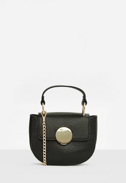 Black Round Buckle Detail Cross Body Bag
