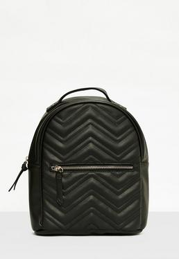 Black Quilted Rounded Backpack