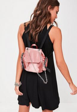 Pink Satin Mini Backpack