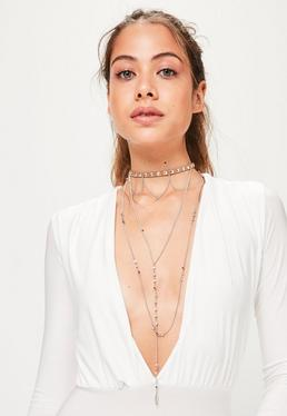 Brown Layered Drop Choker Necklace
