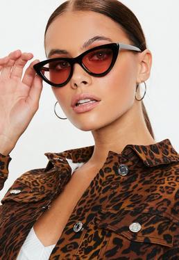 Black Cat Eye Pink Lens Sunglasses