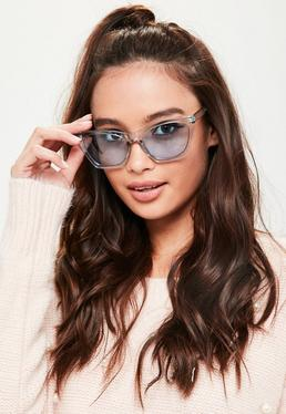 Blue Clear Cat Eye Sunglasses