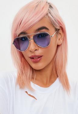 Silver Blue Lens Aviator Sunglasses
