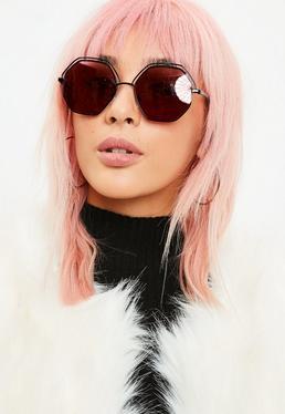 Czarne sześciokątne okulary przeciwsłoneczne