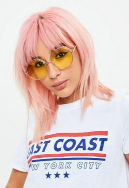 Yellow Hexagonal Frame Sunglasses