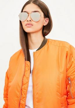 Gold Tonal Aviator Sunglasses