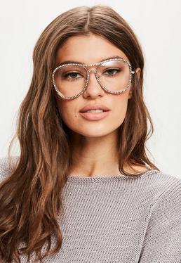Gold Diamante Aviator Frame Glasses