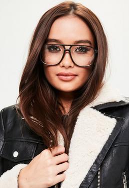 Czarne okulary w stylu aviator